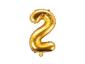 """Balon foliowy 14"""" cyfra """"2"""", złoty, 35 cm"""