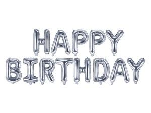 """Girlandy napisy z balonów na powietrze - Balon foliowy napis """"Happy Birthday"""", srebrny / FB6M-018"""