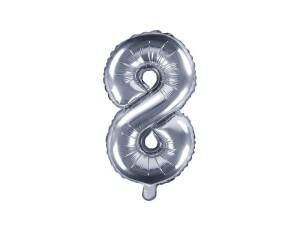 """Balon foliowy cyfra """"8"""", 35 cm, srebrny"""
