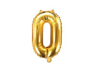 """Balon foliwy cyfra """"0"""" 35 cm złoty"""