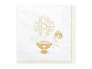 Serwetki chrzest Święty, 33x33cm, złoty