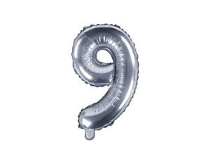 """Balon foliowy cyfra """"9"""", 35 cm, srebrny"""