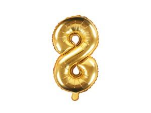 """Balon foliowy 14"""" cyfra """"8"""", złoty, 35 cm"""