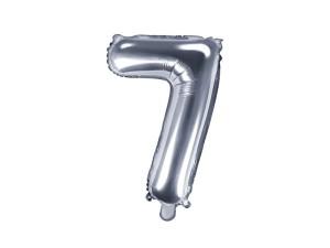 """Balon foliowy cyfra """"7"""", 35 cm, srebrny"""