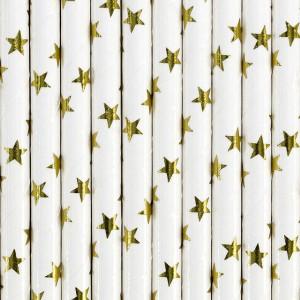 Słomki papierowe,złote gwiazdki, 19,5cm