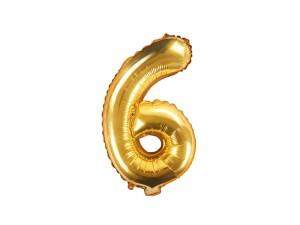 """Balon foliowy Cyfra """"6"""" 35 cm, złoty"""