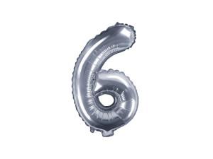"""Balon foliowy cyfra """"6"""", 35 cm, srebrny"""