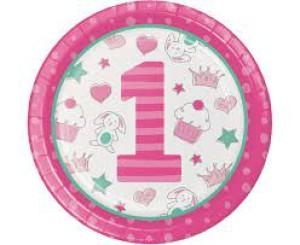 """Talerzyki z nadrukiem - Talerzyki """"Doodle 1st Birthday Dinner"""", różowe"""