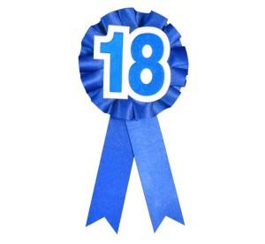 """Kotylion urodzinowy """"18 """", niebieski"""