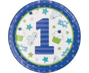 """Talerzyki z nadrukiem - Talerzyki """"Doodle 1st Birthday Dinner"""", niebieskie"""