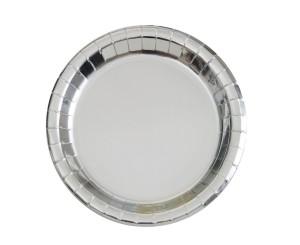 Talerzyki papierowe, srebrne 23cm, 8szt