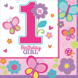 Serwetki bibułowe cyfry i liczby - Serwetki na 1 Urodzinki dla dziewczynki / 33x33 cm