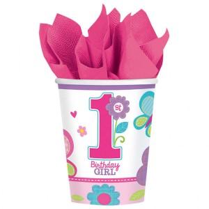 Kubeczki papierowe z cyframi i liczbami - Kubeczki na 1 Urodziny dla dziewczynki / 266 ml