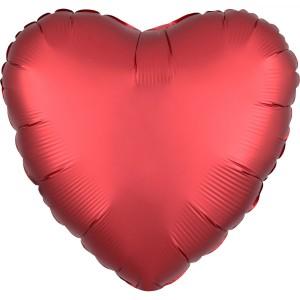 Balony foliowe kształty Satin Luxe - Balon foliowy Satin Luxe - Serce czerwone / 43 cm