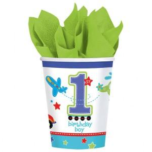 Kubki papierowe na 1 Urodziny dla chłopca, 266 ml