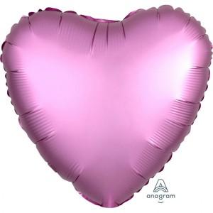 Balony foliowe kształty Satin Luxe - Balon foliowy Satin Luxe - Serce różowe / 43 cm