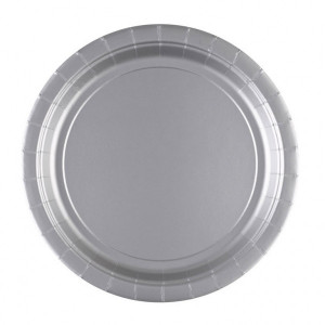 Talerzyki jednokolorowe - Talerzyki papierowe - srebrne / 22,8 cm