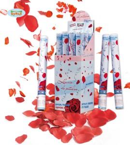 Tuba z płatkami róż , czerwony 40 cm