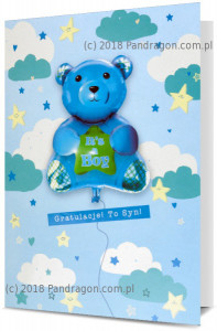 Kartki i pamiątki na Narodziny dziecka / Baby Shower - Kartka na Narodziny chłopca z balonem / K Balloon-12