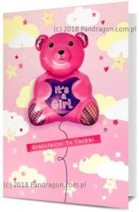 Kartki i pamiątki na Narodziny dziecka / Baby Shower - Kartka na Narodziny dziewczynki z balonem / K.Balloon-11