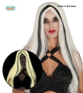 Peruka długie włosy z pasemkami, świecąca w ciemności