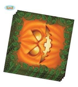Serwetki z nadrukiem dynia Halloween, 33x33 cm