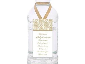 Zawieszki na wódkę weselną, biały i złoty