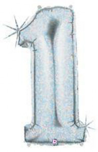 "Balon foliowy hologram cyfra ""1"", srebrny, 40""/102 cm"