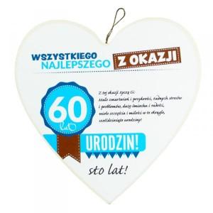 """Drewniana zawieszka serce """"Wszystkiego najlepszego z okazji 60 lat"""""""