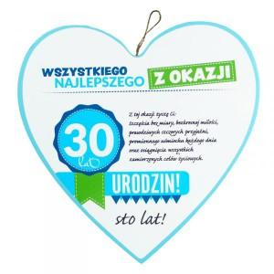 """Drewniana zawieszka serce """"Wszystkiego najlepszego z okazji 30 lat"""""""
