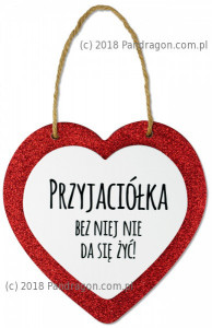 """Zawieszka drewniane serce """"Przyjaciółka"""""""