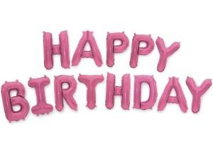 """Balony foliowe 16"""" napis """"Happy Birthday"""" 40cm, jasny róż"""
