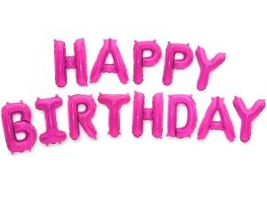 "Balony foliowe 16"" napis ""Happy Birthday"" 40cm,fuksja"