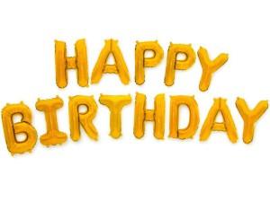 """Balony foliowe 16"""" napis """"Happy Birthday"""" 40cm, złoty"""