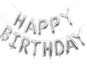 """Balony foliowe 16"""" napis """"Happy Birthday"""" 40cm, srebrny"""