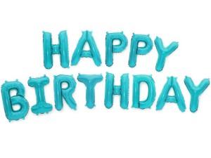 "Balony foliowe 16"" napis ""Happy Birthday"" 40cm, błękit"