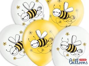 Balony 30 cm Pszczółka, białe i żółte