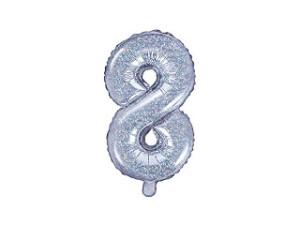 """Balon foliowy cyfra """"8"""", 35cm, holograficzny"""