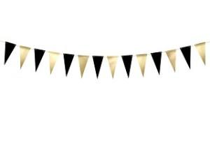 Girlanda flagi, czarny i złoty, 2,15m