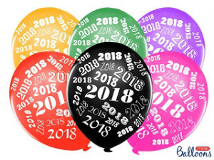 "Balony 30 cm, ""2018"", Metallic mix"