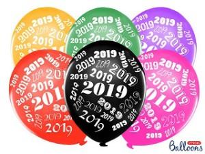 "Balony 30 cm, ""2019"", Metallic mix"