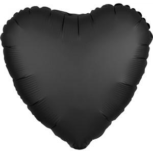 Balony foliowe kształty Satin Luxe - Balon foliowy Satin Luxe - Serce czarne / 43 cm