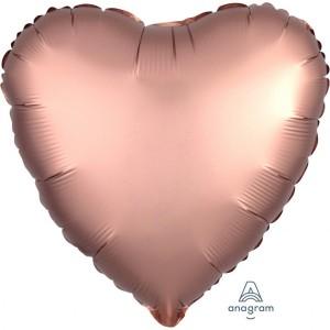 Balony foliowe kształty Satin Luxe - Balon foliowy Satin Luxe - Serce różowe złoto / 43 cm