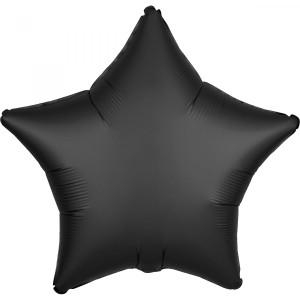 Balony foliowe kształty Satin Luxe - Balon foliowy Satin Luxe - Gwiazda czarna / 48 cm