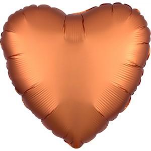 Balony foliowe kształty Satin Luxe - Balon foliowy Satin Luxe - Serce pomarańczowe / 43 cm