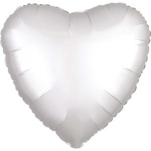 Balony foliowe kształty Satin Luxe - Balon foliowy Satin Luxe - Serce białe / 43 cm