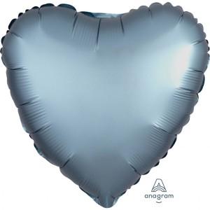 Balony foliowe kształty Satin Luxe - Balon foliowy Satin Luxe - Serce stalowe / 43 cm