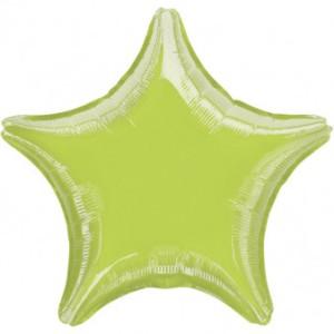 Balony foliowe Gwiazdki - Balon foliowy metalizowany - Gwiazda limonka / 48 cm