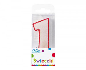 """Świeczka cyferka z brokatem """"1"""", czerwony kontur , 6 cm"""