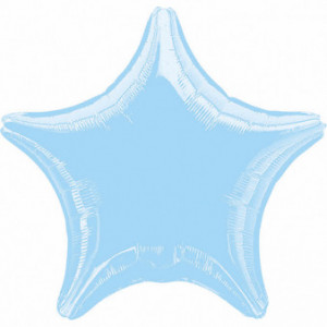 Balony foliowe Gwiazdki - Balon foliowy perłowy - Gwiazda pastelowa błękitna / 48 cm